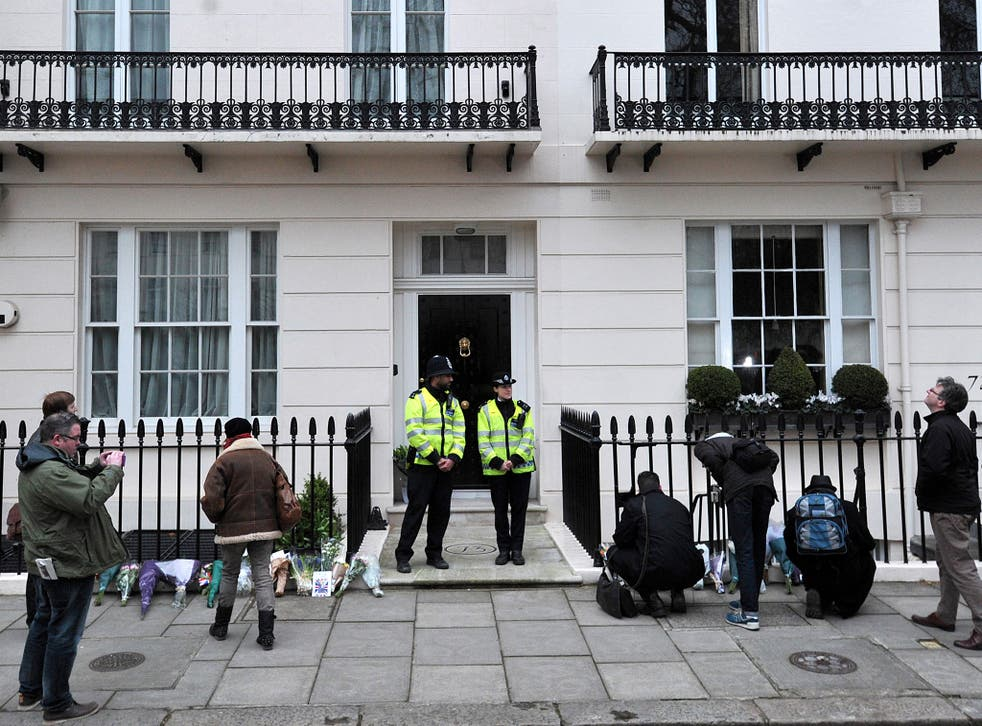 Mourners visit the home of Margaret Thatcher in April 2013; her Belgravia house will go on sale after major refurbishment