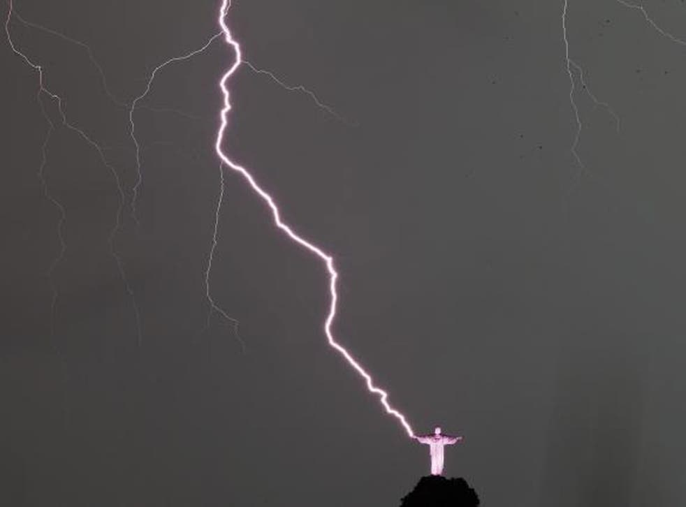The moment the lightening strikes is caught on camera