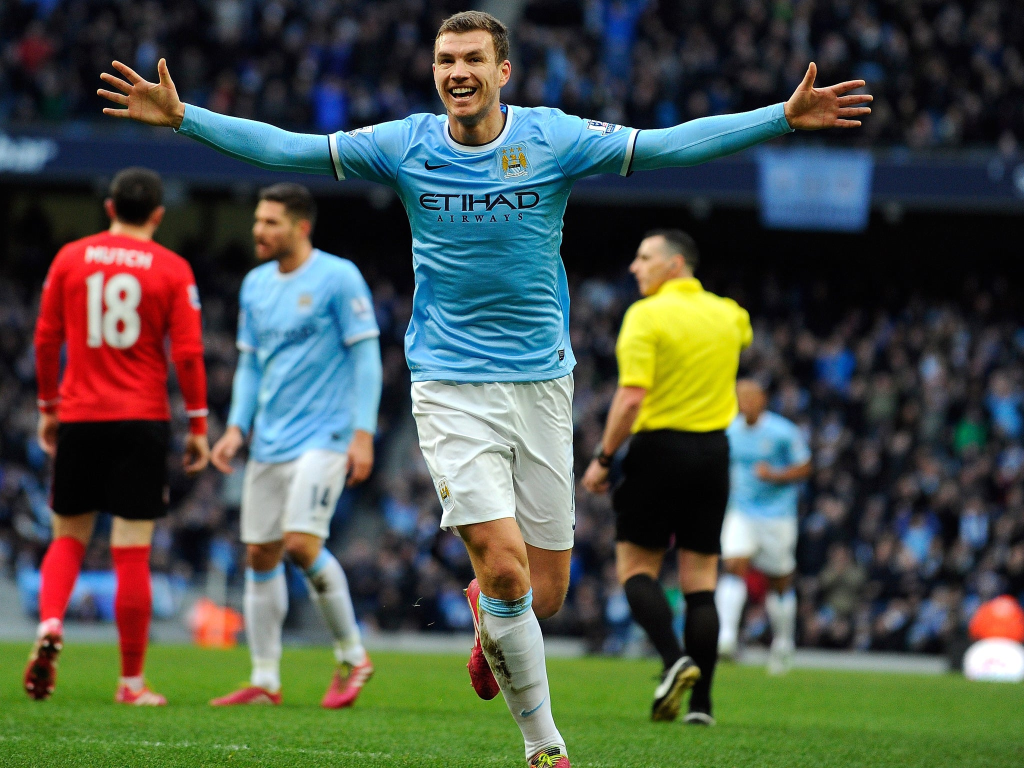 Manchester City 4 Cardiff City 2 match report Edin Dzeko the