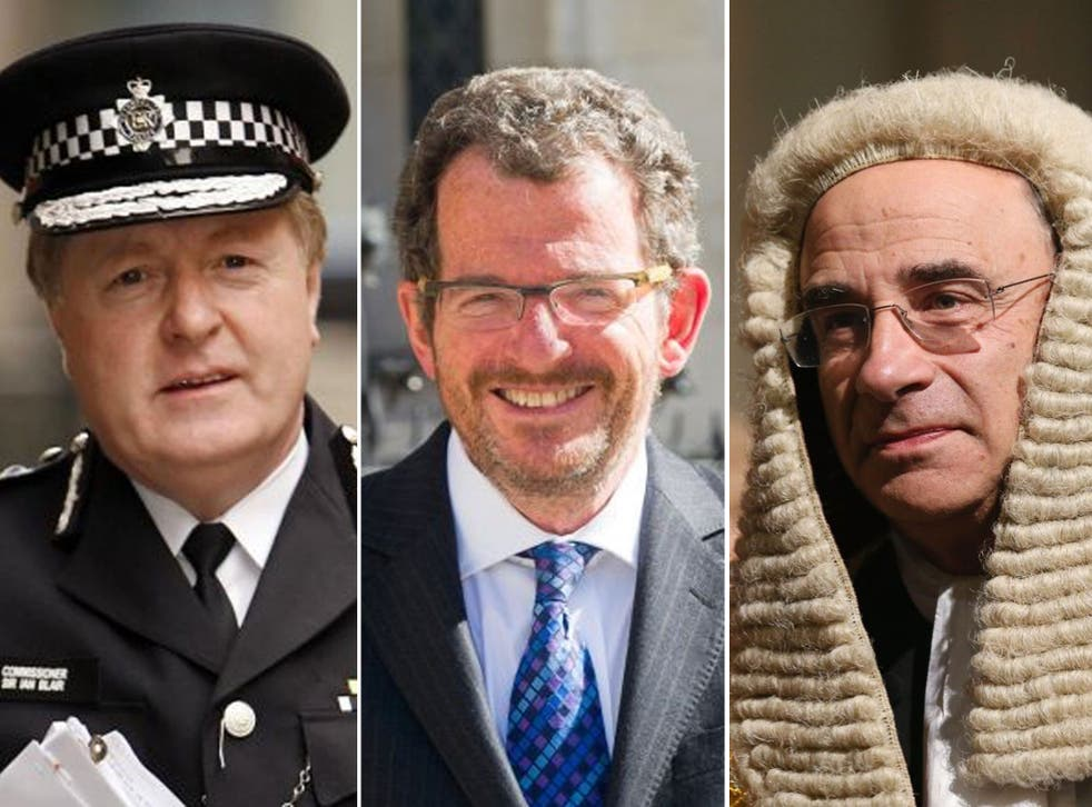 Who's who: Lord Blair, when he was Met Commissioner; lawyer Robert Jay; and and Lord Justice Leveson