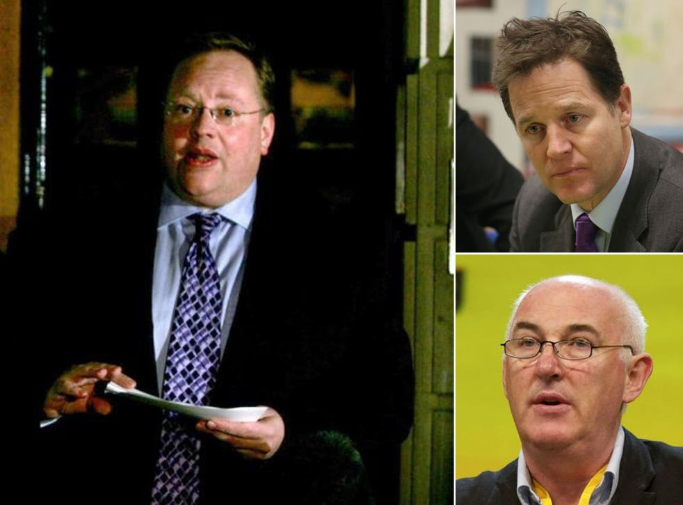 Key Players: Lord Rennard (left), Nick Clegg (top right) and investigating QC Alistair Webster (bottom right)