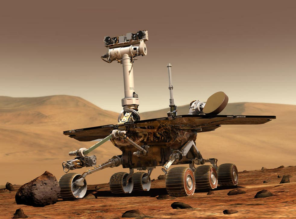 An artist's impression of the Nasa Opportunity rover on the surface of Mars