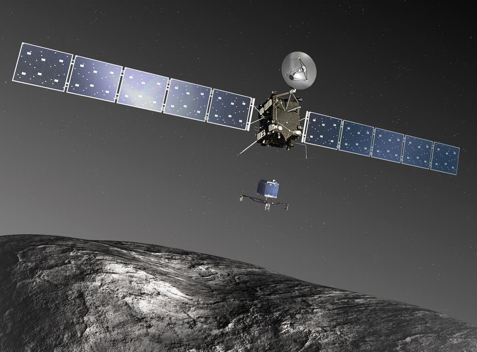 An artist's impression of Rosetta releasing it's on board robot Philae which will land on the comet's surface