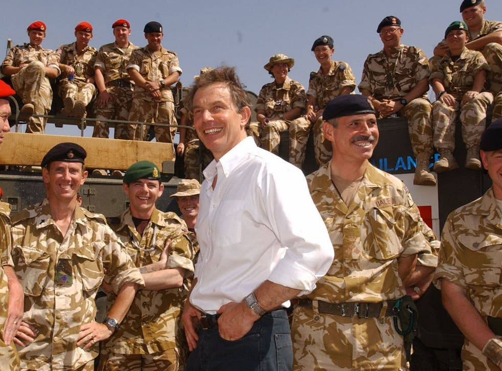 Blair meeting with troops in Basra, Iraq in 2003