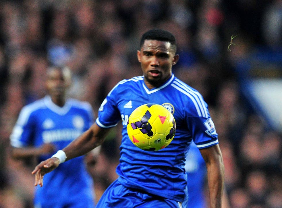 Samuel Eto'o scored a hat-trick to beat Manchester United