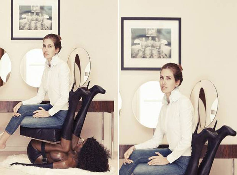 Dasha Zhukova was pictured sat on a half naked black female mannequin for a photoshoot with Buro 24/7
