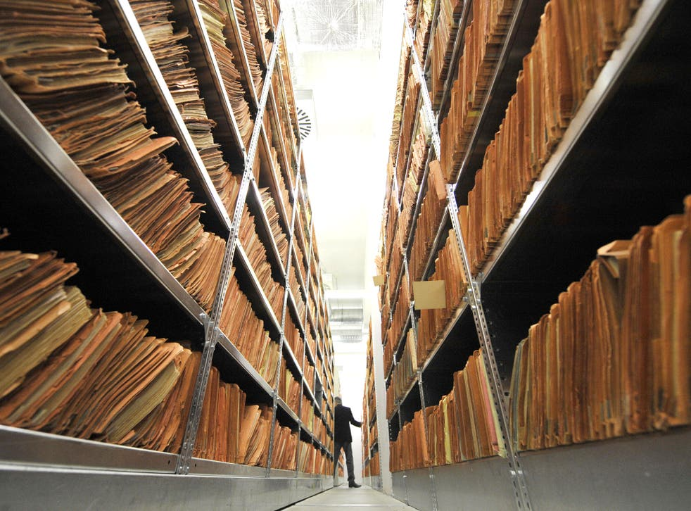 Hundreds of files in the archives of the former East German secret police, known as the Stasi, in Berlin