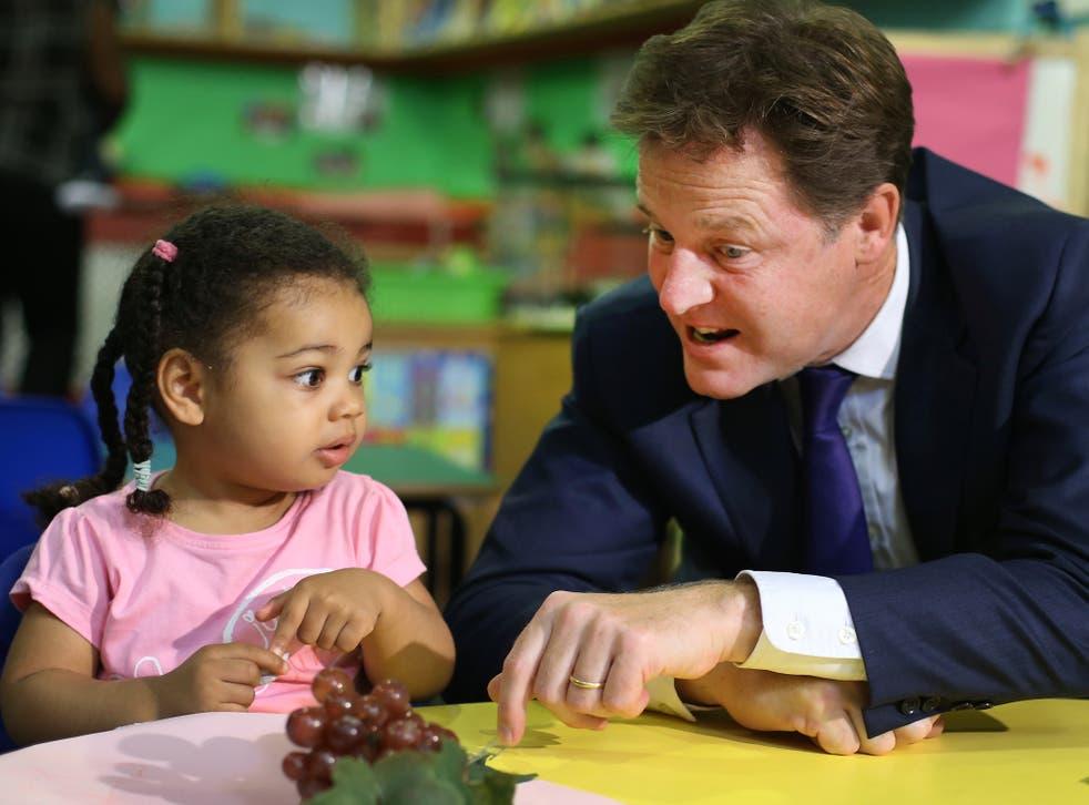 Deputy Prime Minister Nick Clegg visiting a nursery in London last year