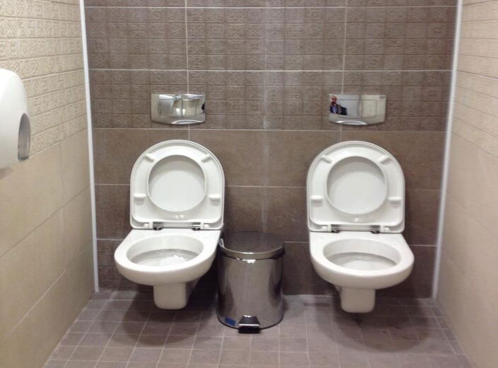 The double toilets at the Sochi 2014 Winter Olympics