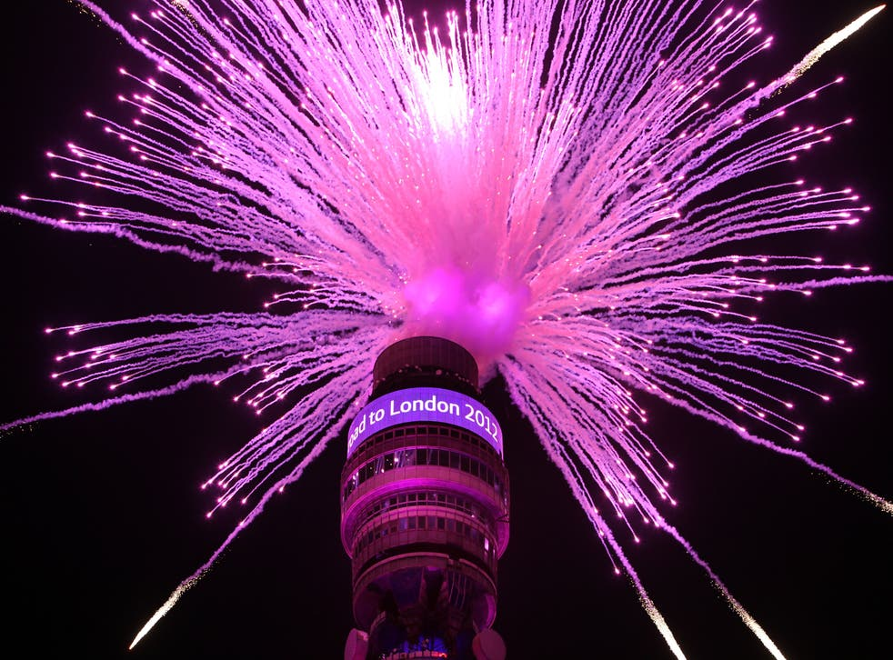 These are fireworks - not fibre optics, but the BT Tower (pictured) has been used to test relay speeds in the past