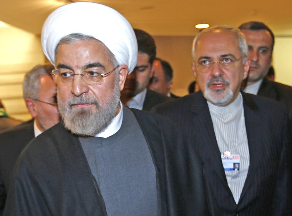Rouhani and Foreign Minister Zarif at the World Economic Forum in Davos