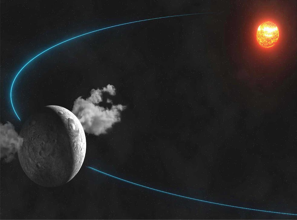 An artist's impression of the water vapour being emitted from the surface of the dwarf planet Ceres