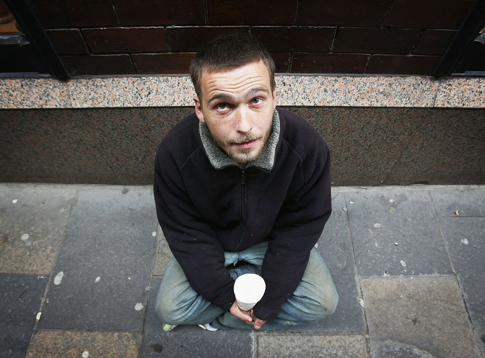 A homeless man begs for small change on the streets. Over half a billion bounds has been spent by local authorities in London on emergency housing since 2010.