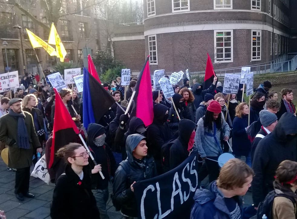 Students protest the closure of their union in London