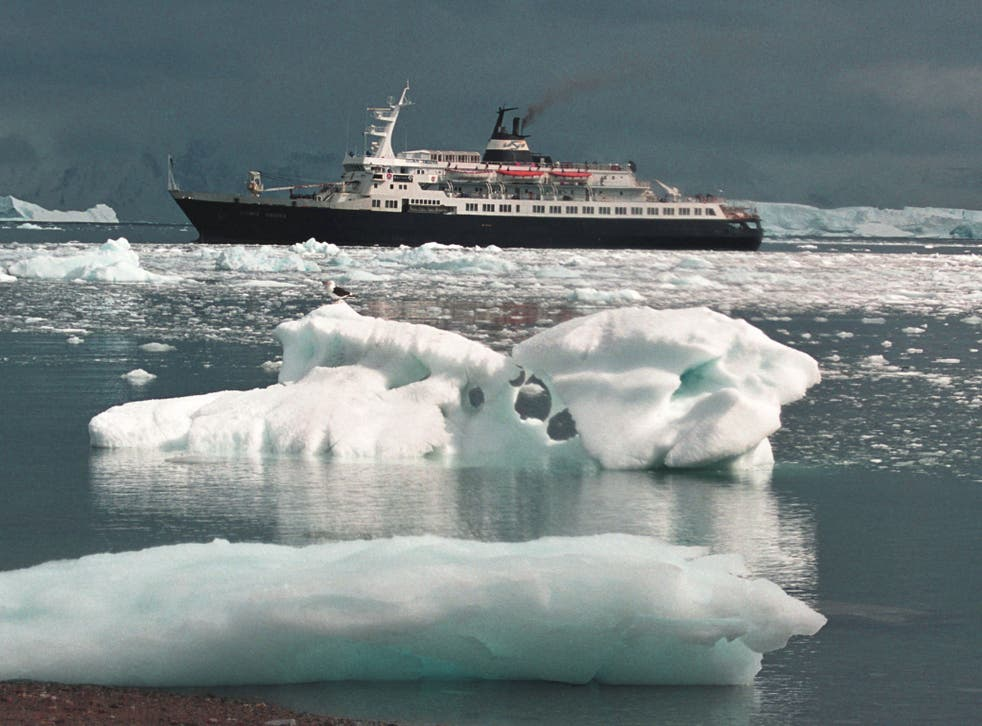 The cruise liner Lyubov Orlova, shown here among ice in Antarctica, has been drifting without a crew in the north Atlantic for the past year