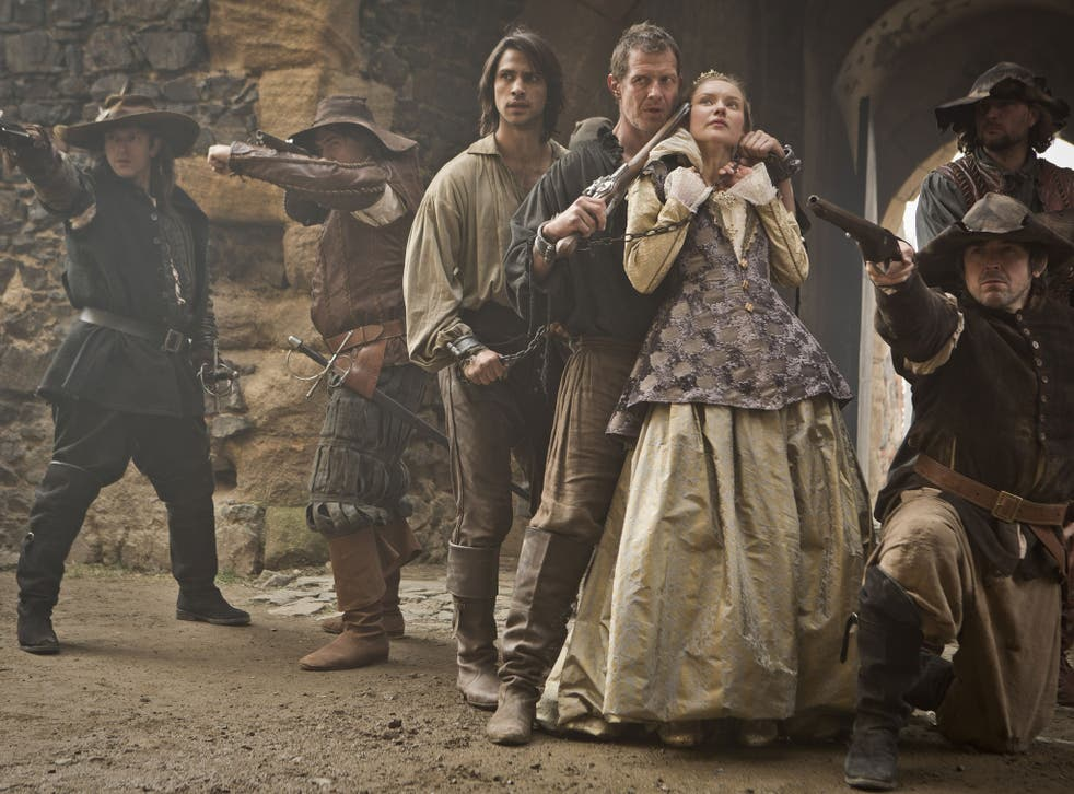 Chain reaction: Luke Pasqualino, Jason Flemying and Alexandra Dowling in 'The Musketeers'