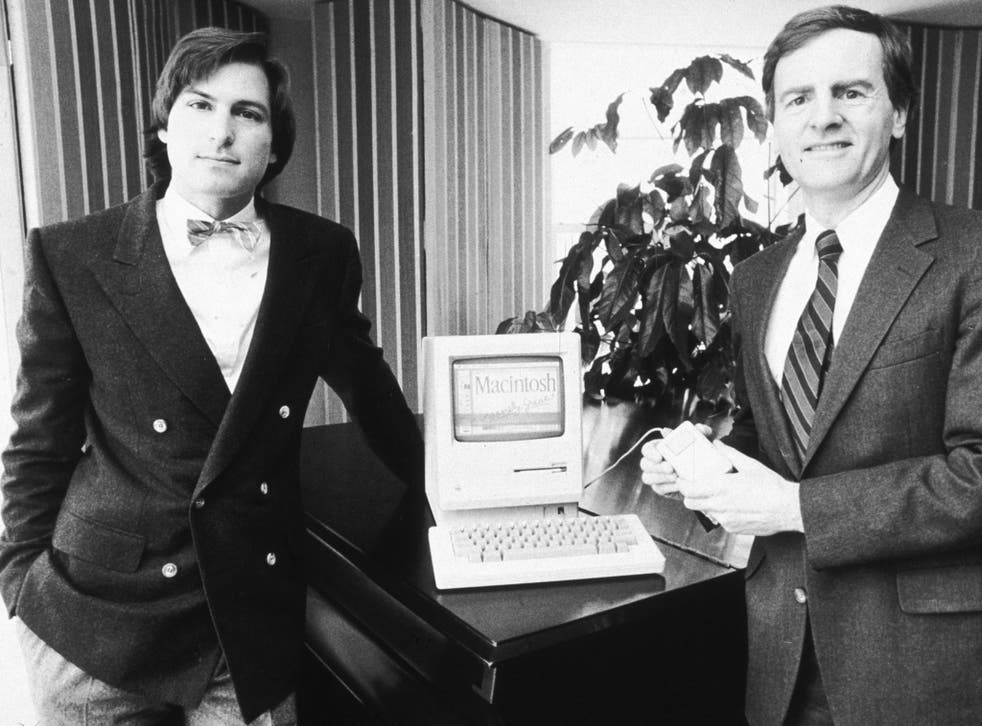 Perfect pitch: Steve Jobs, left, and Apple's president John Sculley with the new Macintosh personal computer in New York in 1984