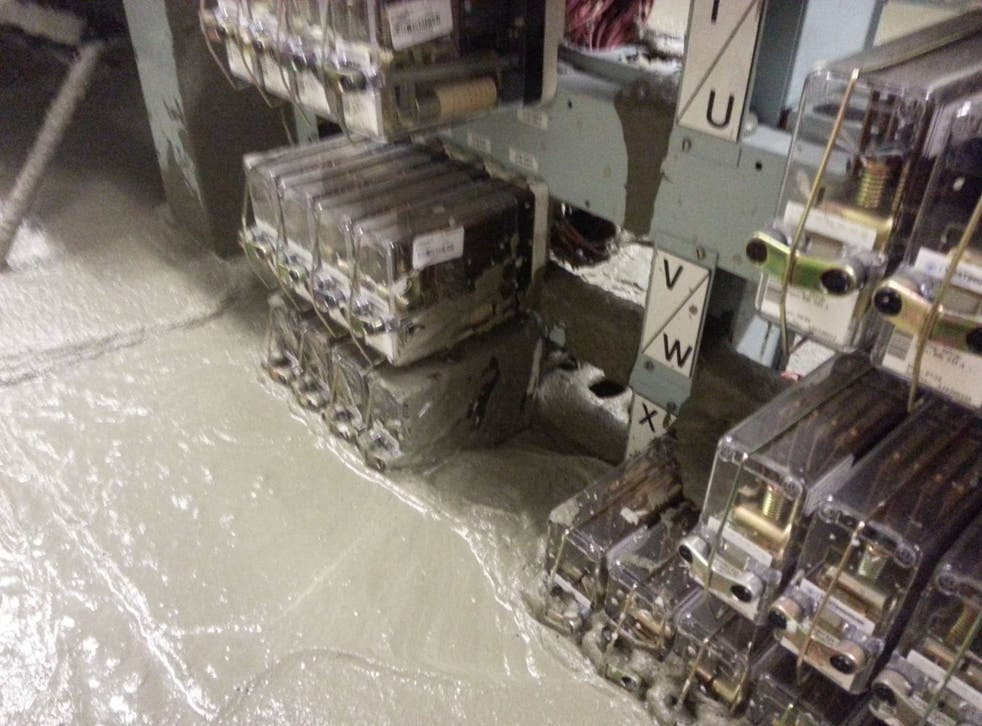 The damage caused by a cement leak to a signal control room at Victoria Station