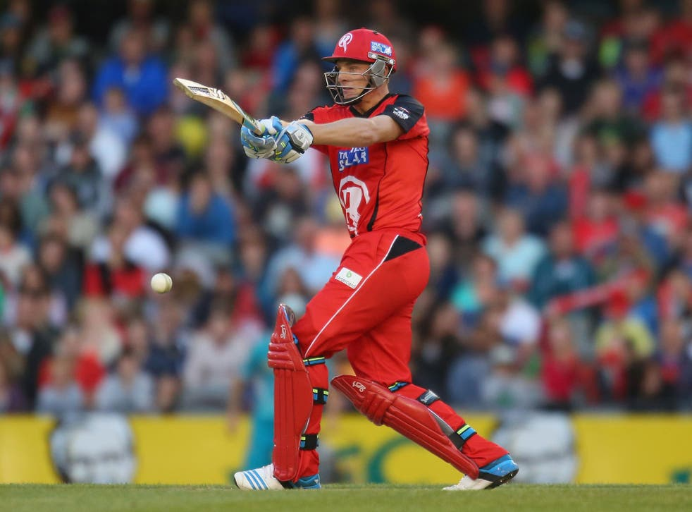 Jos Buttler of the Renegades bats during the Big Bash League match between the Melbourne Renegades and Brisbane Heat on 30 December 2013