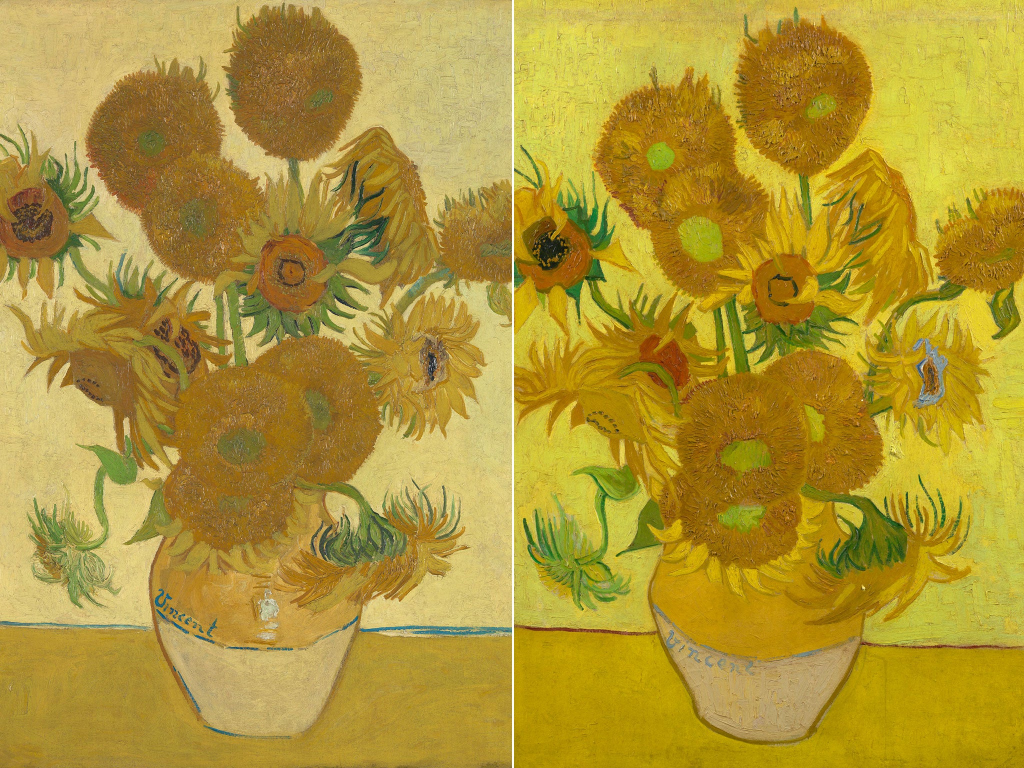 Two Van Gogh Sunflowers shown together at National Gallery