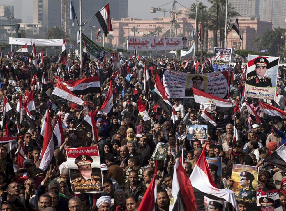 Supporters of Egyptian Defense Minister General Abdel Fattah al-Sisi gather in Tahrir Square to celebrate the third anniversary of Egypt's 2011 uprising on 25 January 2014 in Cairo, Egypt.