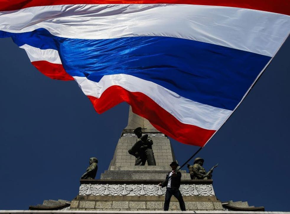 Flag up: An anti-government protester in Bangkok earlier this month