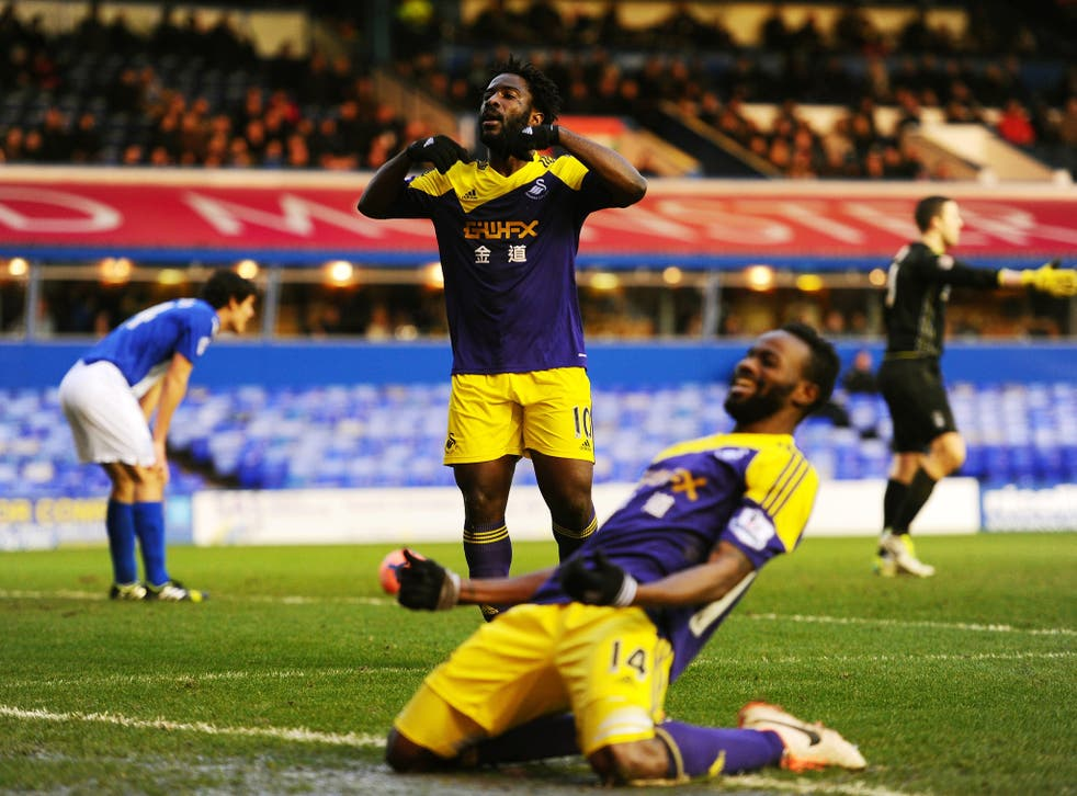 Wilfried Bony (No. 10) celebrates after scoring for Swansea in the FA Cup win over Birmingham