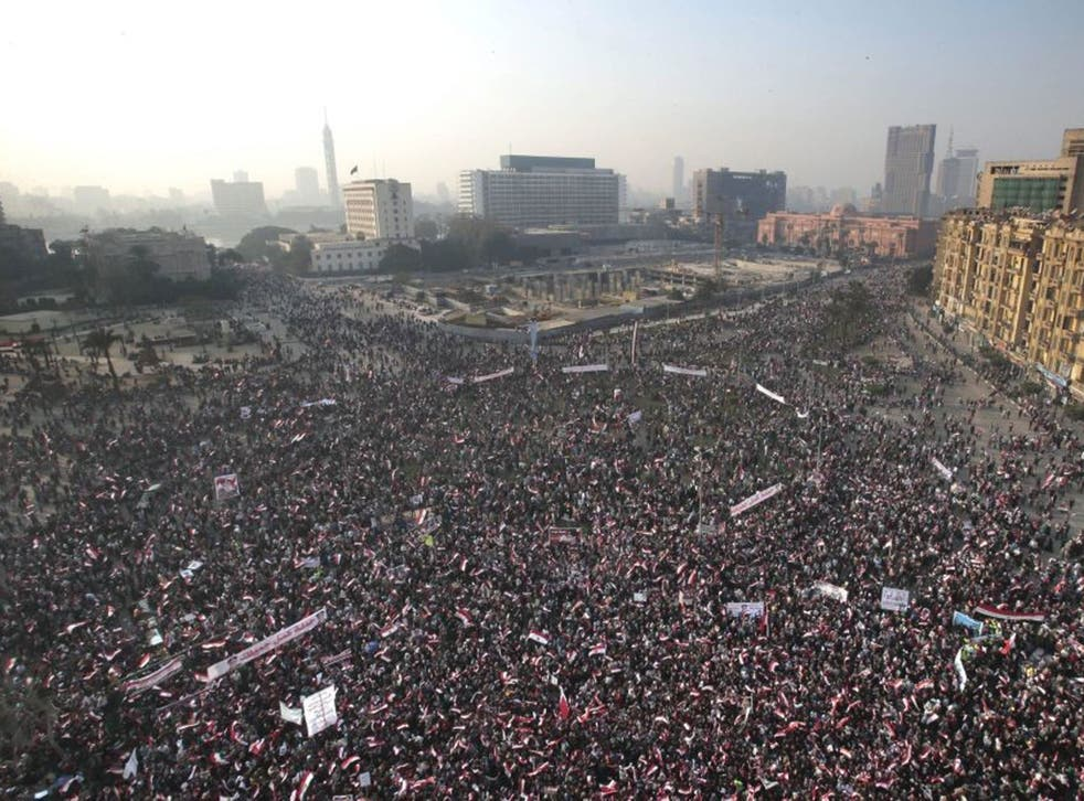 Thousands packed Tahrir Square, Cairo, for yesterday's anniversary