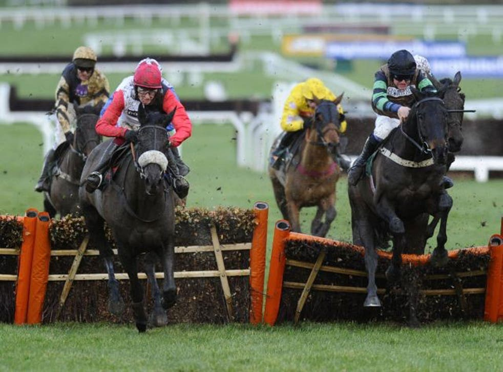 Knock out: Knockara Beau (right) reels in Big Buck's at the final obstacle of the Cleeve Hurdle to beat the marathon specialist on his return from injury