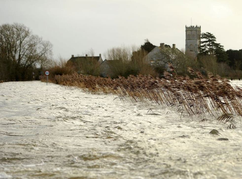 View from a road of of flood water surrounding the village of Muchelney in the Somerset levels, Sunday 26 January 2014