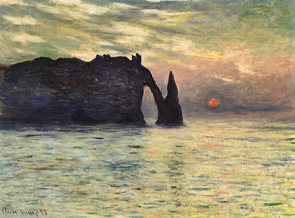 The Manneport, Cliff at Etretat, Sunset, by Claude Monet