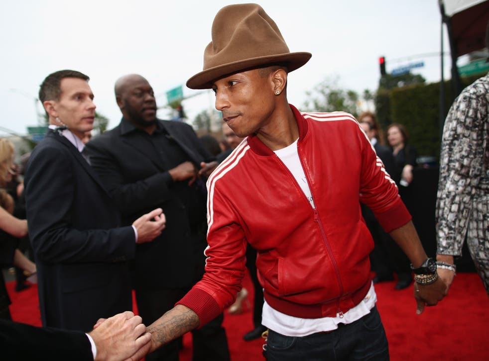 Pharrell Williams' hat stole the show at the 56th Grammy Awards in Los Angeles