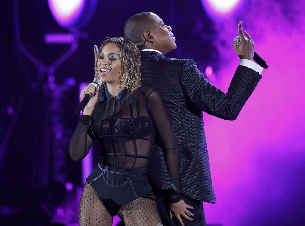 Beyonce and her husband Jay-Z on stage together