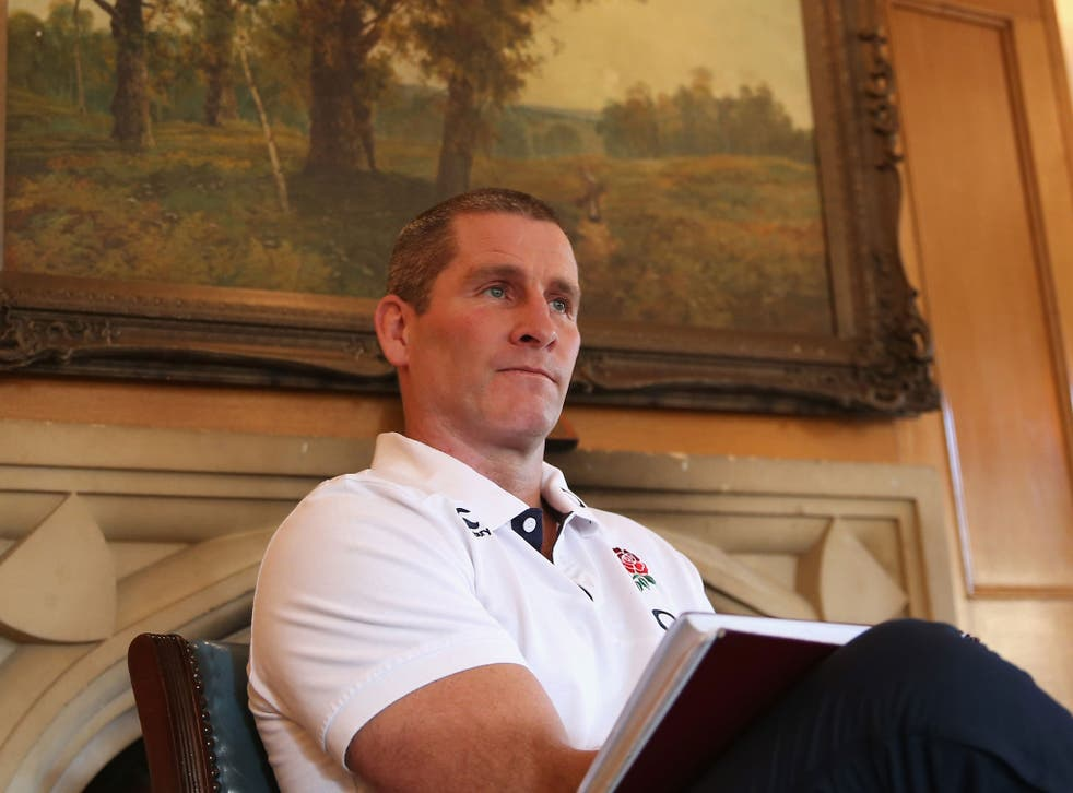 England coach Stuart Lancaster holds court at Pennyhill Park in Bagshot, Surrey