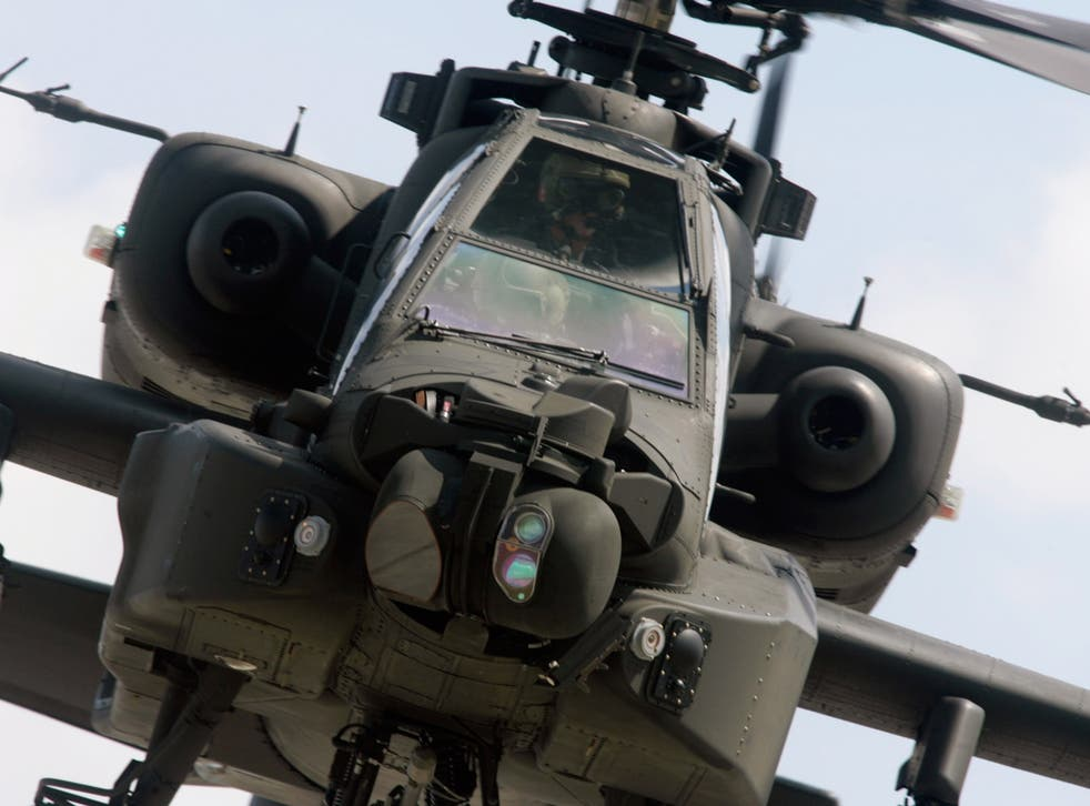 An RAF Apache helicopter