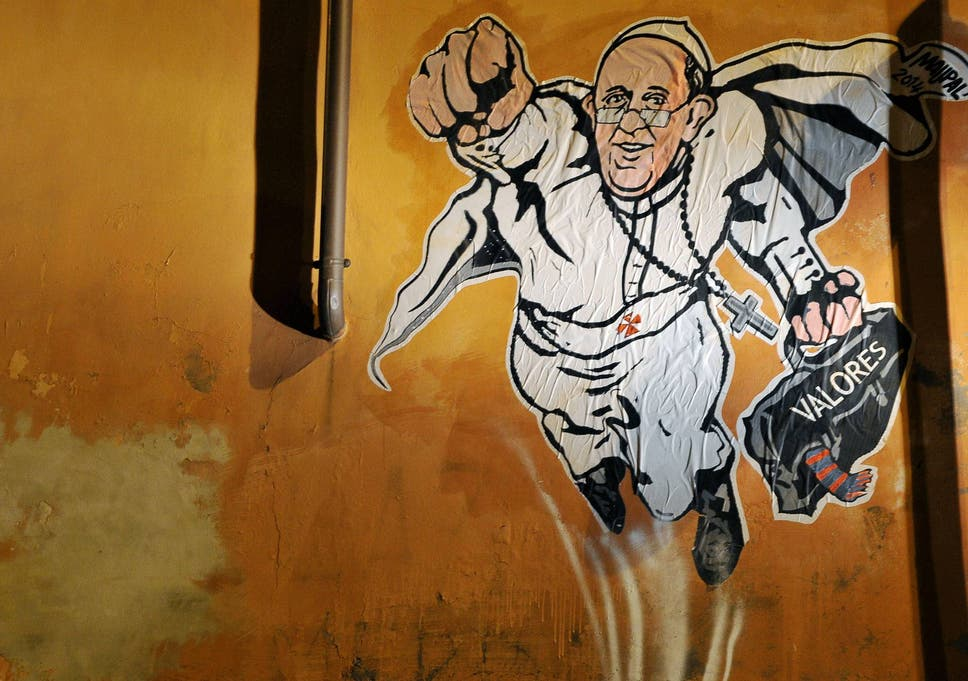 The SuperPope image was pasted to the wall by artist Maupal