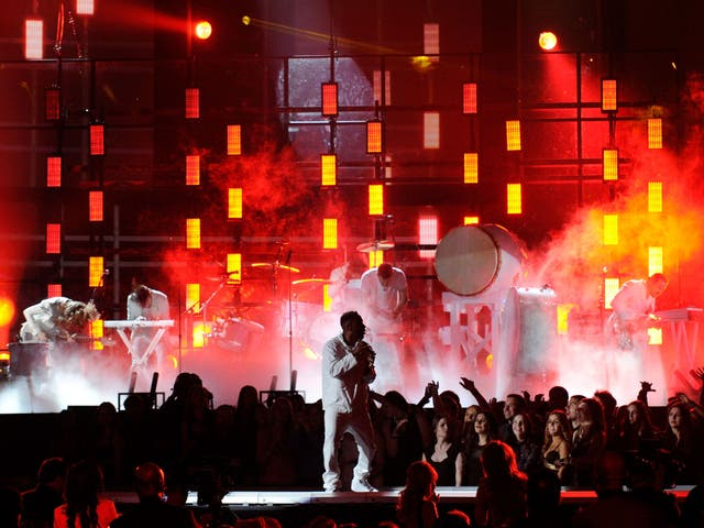 Kendrick Lamar, here performing live with Imagine Dragons, enjoyed a 99 per cent rise in Spotify traffic after his Grammys performance