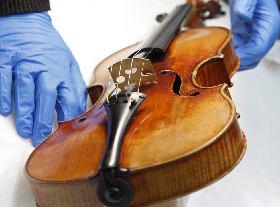 A Stradivarius violin at the restoration and research laboratory of the Musee de la Musique in Paris