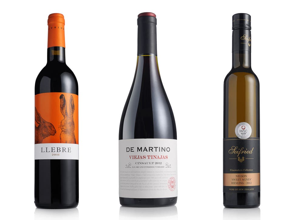 2011 Llebre Tinto, Costers del Segre; 2012 De Martino Viejas Tinajas Cinsault, Itata; 2012 Seifried Sweet Agnes Riesling