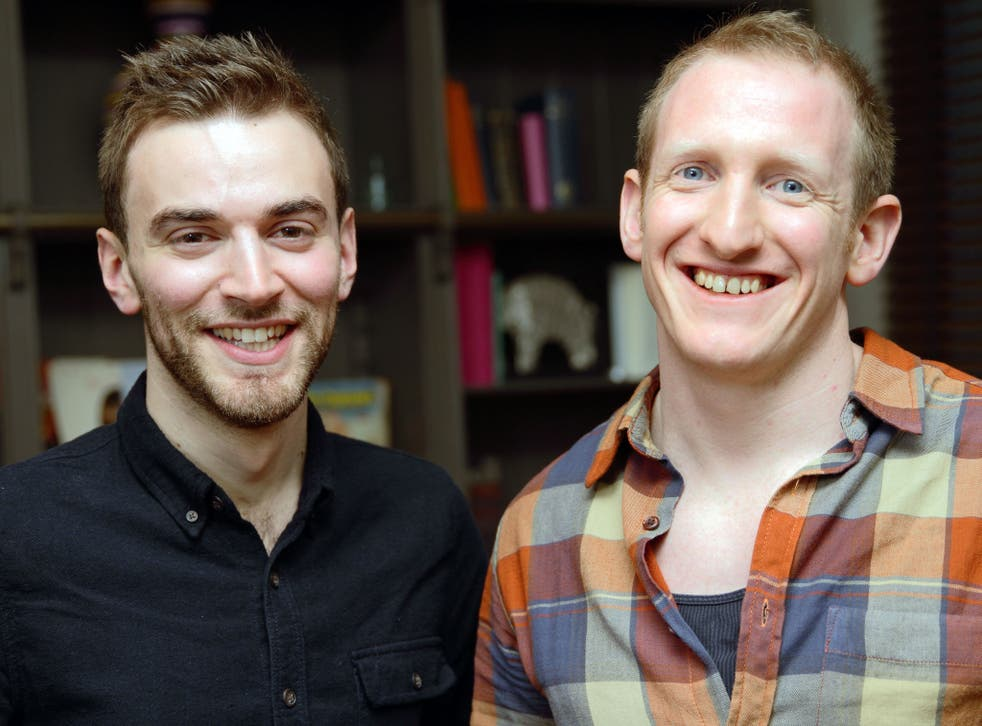 Jonny Benjamin (left) and Neil Laybourn meet after Mr Benjamin launched a campaign to find the stranger who stopped him from taking his life in 2008.