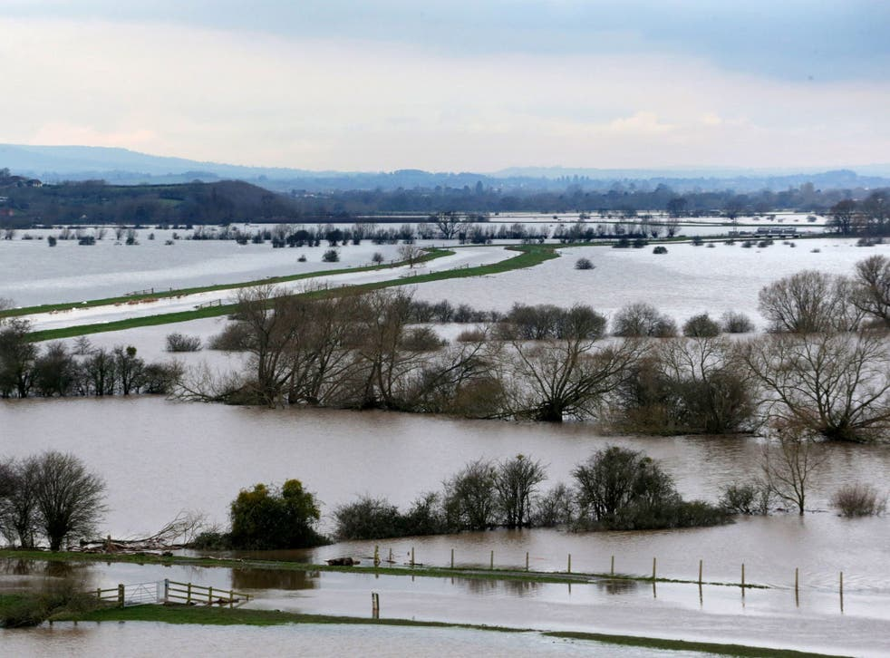 Flooded fields surround the River Tone near Langport in Somerset, England, on 29 January. The military has been brought in to provide relief to villages