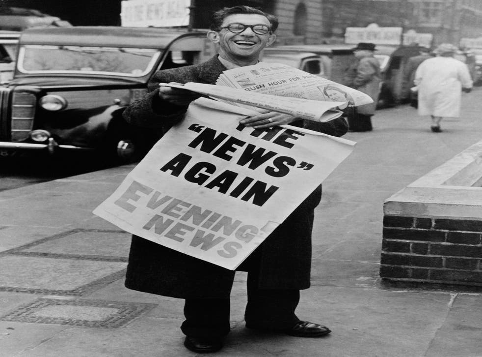 Hot off the press: A newspaper vendor in Fleet Street in 1955