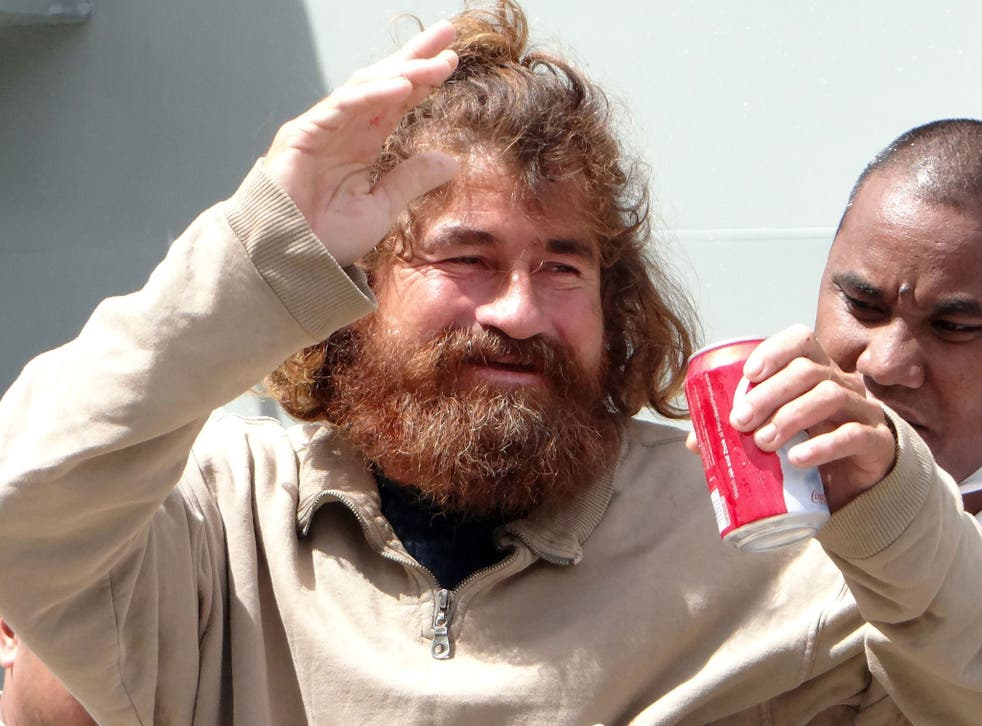 The castaway who identified himself as Jose Salvador Albarengo is pictured for the first time on his arrival in the Marshall Islands capital Majuro