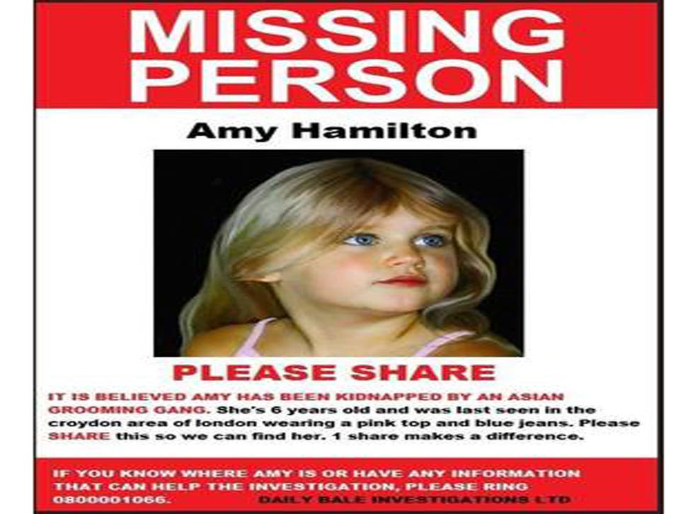 The appeal for 'missing' Amy Hamilton has been shared thousands of times in the past few days - despite being a hoax created by a right-wing organisation