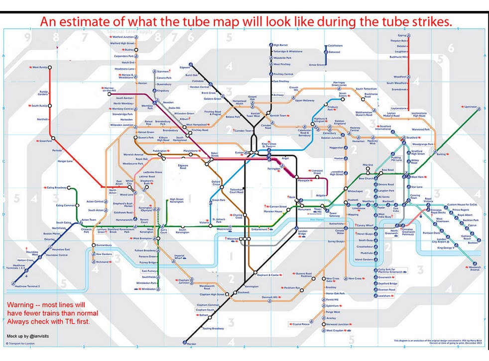 Mind the gaps: What the London Underground is predicted to look like during the strikes (Click to enlarge)