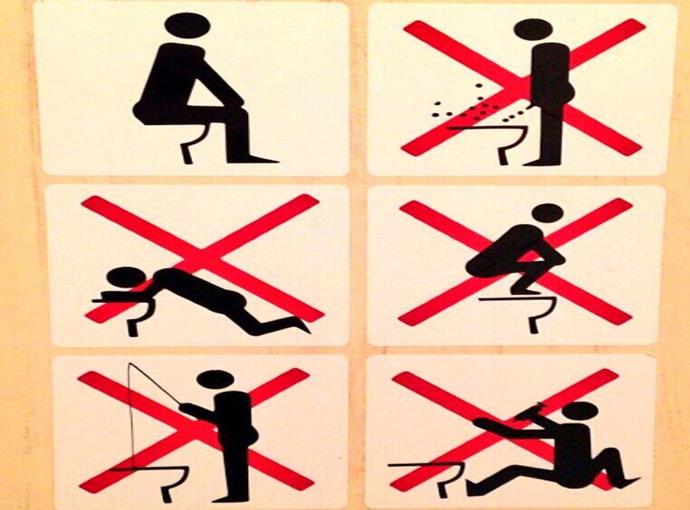 This image posted was posted to Twitter by Canadian snowboarder Sebastien Toutant, with the caption: 'Well that's interesting... Sochi rules in the bathrooms!'