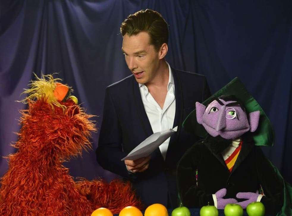 With the help of Count and Murray, Cumberbatch explains how to count up four apples and three oranges, and decide which is the greater number.