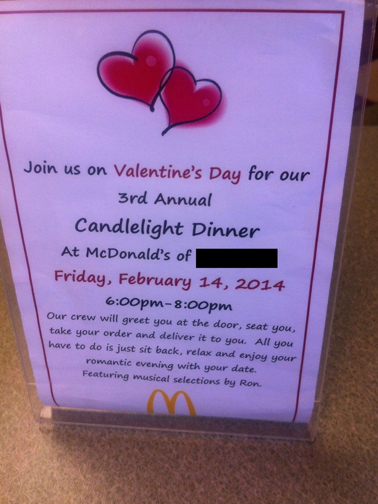 Valentine's Day candlelit dinner for two at McDonald's - complete ...