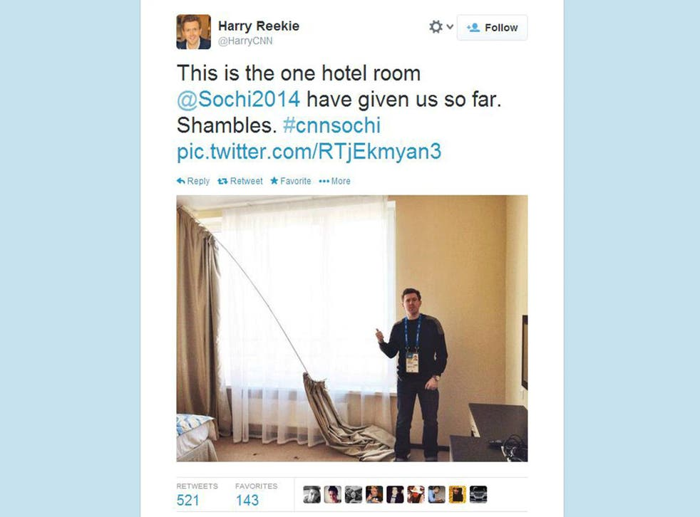 A CNN employee posted a snap of his hotel room on Twitter