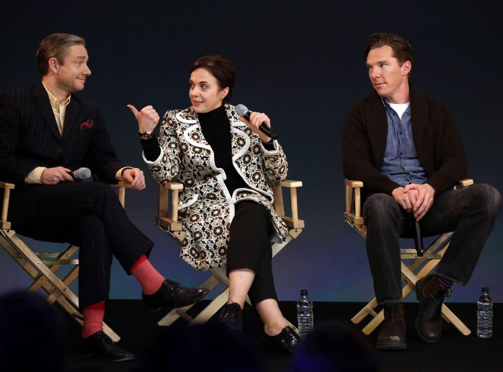 Martin Freeman, Amanda Abbington and Benedict Cumberbatch at the Meet the Filmmakers: Sherlock event at the Apple Store on 4 February